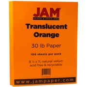 JAM Paper® Translucent Vellum Paper, 8.5 x 11, 30lb Orange, 100/pack (1592205)