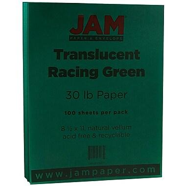 JAM Paper® Translucent Vellum Paper, 8.5 x 11, 30lb Racing Green, 100/pack (1592211)