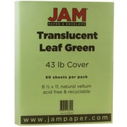 "JAM Paper® 43 lb. 8 1/2"" x 11"" Paper Chartham Color Translucent Cover, Leaf Green, 50/Pack"