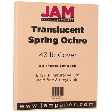 JAM Paper® Translucent Vellum Cardstock, 8.5 x 11, 43lb Spring Ochre Ivory, 50/pack (1592220)