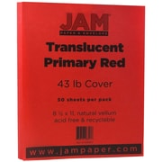 "JAM Paper® 43 lb. 8 1/2"" x 11"" Paper Chartham Color Translucent Cover, Primary Red, 50/Pack"