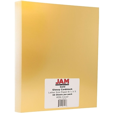 JAM Paper® Glossy Cardstock 1-Sided, 8.5 x 11, 80lb Gold, 50/pack (1683739)