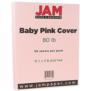 JAM Paper® Matte Cardstock, 8.5 x 11, 80lb Baby Pink, 50/pack (5155791)