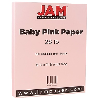 JAM Paper® Matte Paper, 8.5 x 11, 28lb Baby Pink, 50/pack (5155793)