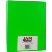 "JAM Paper® 43 lb. 8 1/2"" x 11"" Vellum Neon Cromatica Cardstock, Fluorescent Green, 50 Sheets/Pack"