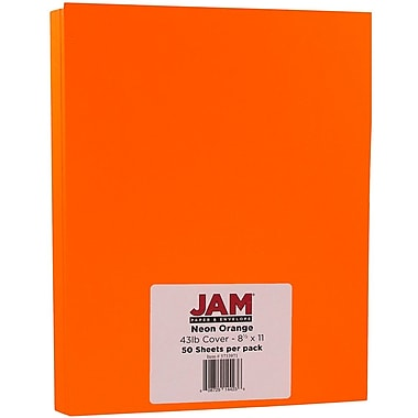 JAM Paper® Neon Cardstock, 8.5 x 11, 43lb Fluorescent Orange, 50/pack (5733973)