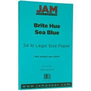 JAM Paper® Bright Color Legal Paper, 8 1/2 x 14, 24lb Brite Hue Sea Blue Recycled, 100/pack (16728245)