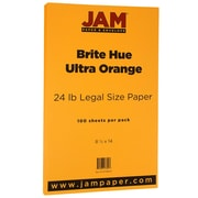 JAM Paper® Bright Color Legal Paper, 8 1/2 x 14, 24lb Brite Hue Ultra Orange, 100/pack (16728247)