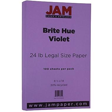JAM Paper® Bright Colour Legal Paper, 8.5 x 14, 24lb Brite Hue Violet Purple Recycled, 100/Pack (16728248)
