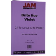JAM Paper® Bright Color Legal Paper, 8 1/2 x 14, 24lb Brite Hue Violet Purple Recycled, 100/pack (16728248)