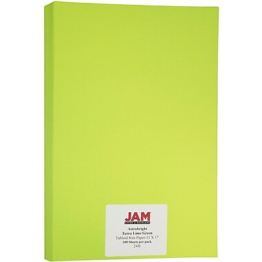 JAM Paper® Bright Colour Tabloid Paper, 11 x 17, 24lb AstroBrights® Terra Lime Green, 100/Pack (16728460)