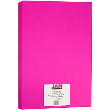 JAM Paper® Bright Colour Tabloid Paper, 11 x 17, 24lb AstroBrights® Fireball Fuchsia Pink, 100/Pack (16728461)