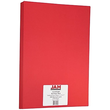 JAM Paper® Bright Colour Tabloid Paper, 11 x 17, 24lb AstroBrights® Re-Entry Red, 100/Pack (16728462)