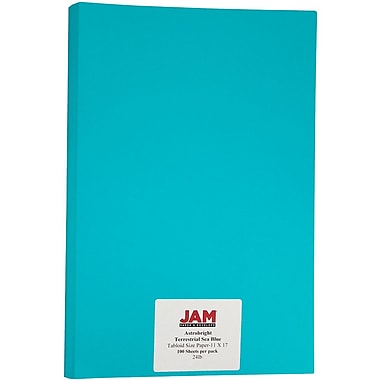 JAM Paper® Bright Colour Tabloid Paper, 11 x 17, 24lb AstroBrights® Terrestrial Sea Blue, 100/Pack (16728465)