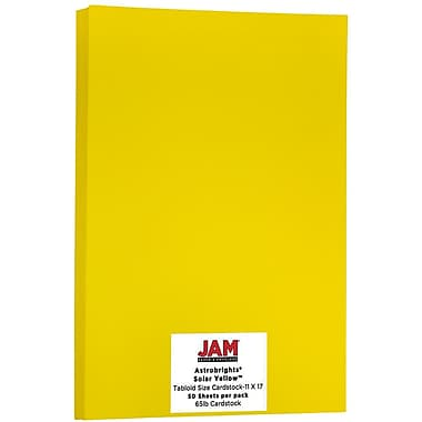 JAM Paper® Bright Colour Tabloid Cardstock, 11 x 17, 65lb AstroBrights® Solar Yellow, 50/Pack (16728490)
