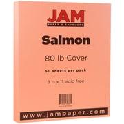 JAM Paper® 80lb Cardstock, 8 1/2 x 11, Salmon Pink, 50/Pack (16729219)