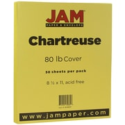 JAM Paper® Matte Cardstock, 8.5 x 11, 80lb Chartreuse Green, 50/pack (16729227)