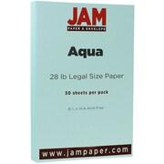 JAM Paper® Matte Legal Paper, 8.5 x 14, 28lb Aqua Blue, 50/pack (16729307)