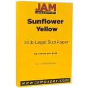 JAM Paper® 80lb Legal Cardstock, 8 1/2 x 14, Sunflower Yellow, 50/Pack (16729352)