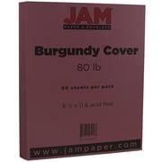 "JAM Paper® 80 lb. 8 1/2"" x 11"" Cover Cardstock, Burgundy, 50 Sheets/Pack"