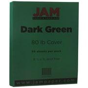 JAM Paper® 80lb Cardstock, 8 1/2 x 11, Dark Green, 50/Pack (64429282)