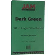 JAM Paper® 28lb Legal Paper, 8 1/2 x 14, Dark Green, 50/Pack (64429551)