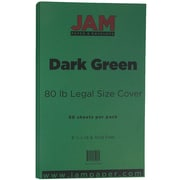JAM Paper® 80lb Legal Cardstock, 8 1/2 x 14, Dark Green, 50/Pack (64429556)