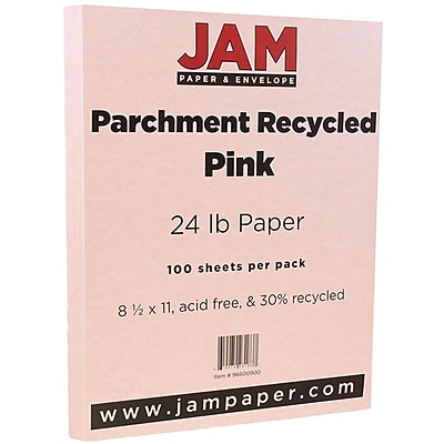 JAM Paper Parchment Paper 8.5 x 11 24lb Pink Recycled 100 pack 96600900