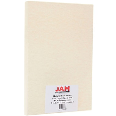 JAM Paper® Parchment Legal Cardstock, 8.5 x 14, 65lb Natural Recycled, 50/Pack (96700400)
