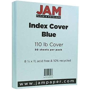 JAM Paper® Vellum Bristol Index Cardstock, 8.5 x 11, 110lb Blue, 50/pack (216916789)