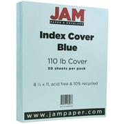 """JAM Paper® Vellum Bristol Index Cover 8.5"""" x 11"""", Blue, 50/Pack"""