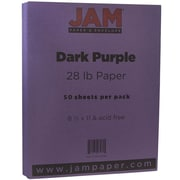 JAM Paper® Matte Paper, 8.5 x 11, 28lb Dark Purple, 50/pack (364412783)
