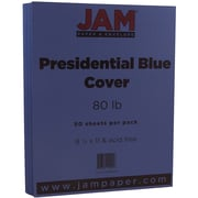 "JAM Paper® 8 1/2"" x 11"" 80 lb. Presidential Cardstock, Blue, 50 Sheets/Ream"