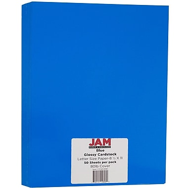 JAM Paper® Glossy Cardstock 1-Sided, 8.5 x 11, 80lb Blue, 50/Pack (2236918983)