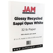 JAM Paper® Glossy Paper, 8.5 x 11, 32lb White, 100/pack (1034701D)