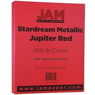JAM PaperMD – Papier de couverture cartonné métallique StardPack, 8 1/2 x 11 po, rouge Jupiter, 50/pqt