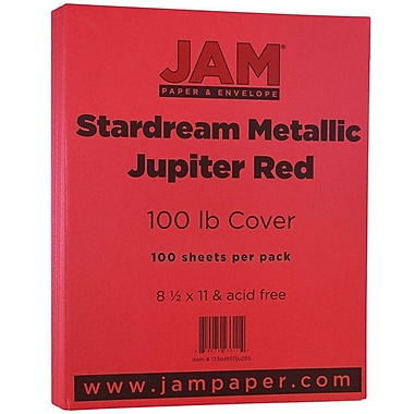 JAM Paper® Metallic Cardstock, 8.5 x 11, 110lb Stardream Metallic Jupiter Red, 50/Pack (173SD8511JU285)