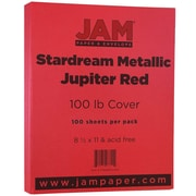 "JAM Paper® 110 lb. 8 1/2"" x 11"" Stardream Metallic Cover Cardstock, Jupiter Red, 50/Pack"