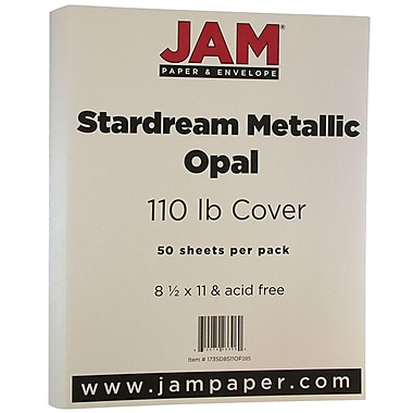 JAM Paper® Metallic Cardstock, 8.5 x 11, 110lb Stardream Metallic Opal, 50/pack (173SD8511OP285)