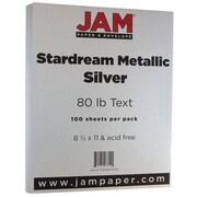 JAM Paper® Metallic Paper, 8.5 x 11, 80lb Stardream Silver, 100/pack (173SD8511SI120)