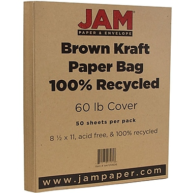 JAM Paper® Matte Cardstock, 8.5 x 11, 65lb Brown Kraft 100% Recycled Paper Bag, 50/Pack (LEKR120606)