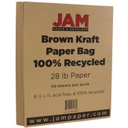 "JAM Paper® 28 lb. 8 1/2"" x 11"" Kraft Paper Bag 100% Recycled Paper, Brown, 50 Sheets/Pack"