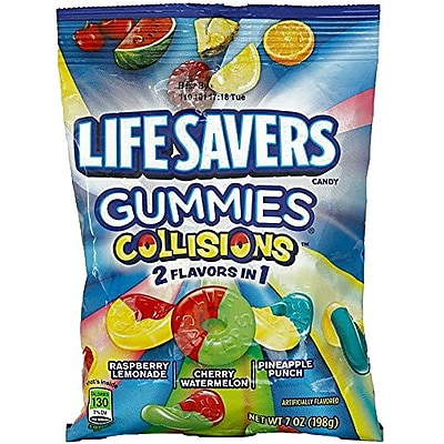 LifeSavers Gummies Collisions 2 Flavor In 1 Candy 7 oz. Raspberry Lemonade Cherry Watermelon