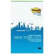 "3M™ Post-it® 5"" x 8"" New York Color Collection Super Sticky Note, 45 Sheets/Pad, Assorted, 2 Pads/Pack (5845-2SSNY)"