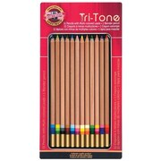 Chartpak® Koh-I-Noor® Tri-Tone Multi-Colored Pencil Set, 12/Set (FA33TIN12BC)