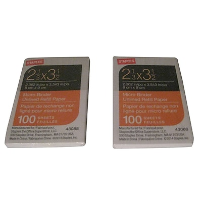 Staples Micro Binder Unlined Refill Paper 2 1 3 x 3 1 2 43088