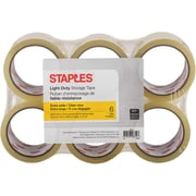 Staples® Wide Packaging Tap, 72 mm x 50 m, 2-mil, Clear, 6/Pack