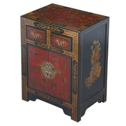 EXP D cor Handmade Oriental Antique Style Black Bonded Leather End Table With Nature Motifs