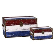 Household Essentials 2 Piece Red, White & Blue Stripes Design Trunk Set (Large & Small)