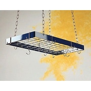 Rogar Custom Rectangle Ceiling Mount Pot Rack w/ Grid; Hammered Steel/Chrome